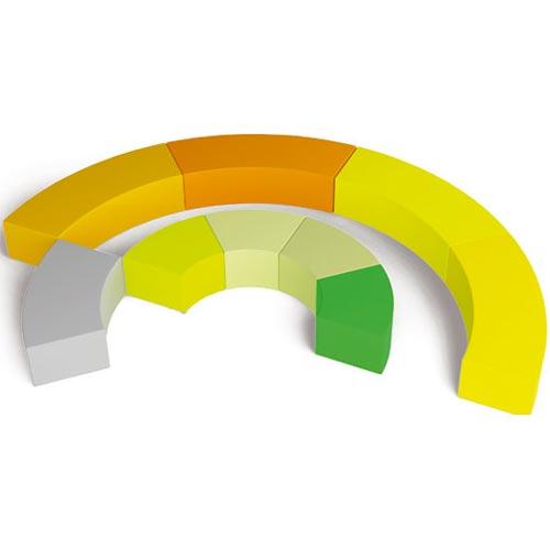 Asiento bloque curvado gris 65 x 30 x 45 cm detalle 1
