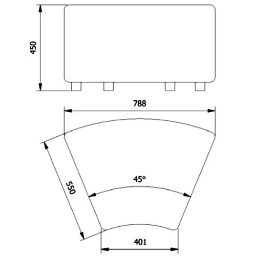 Mini Sofá asiento Ángulo 45º detalle 6