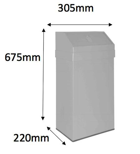 Papeleral metal con tapa basculante 43 litros detalle 2