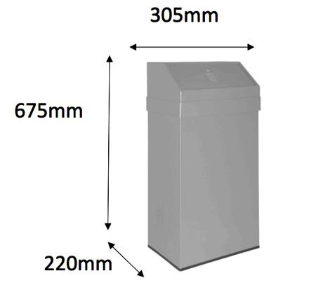 Papelera inox tapa basculante 43 litros detalle 2