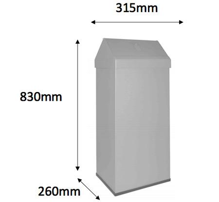 Papelera metal anti roedore 56 litros detalle 4