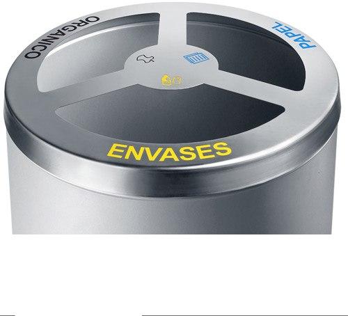 Papelera reciclaje cilindro 150 litros detalle 1