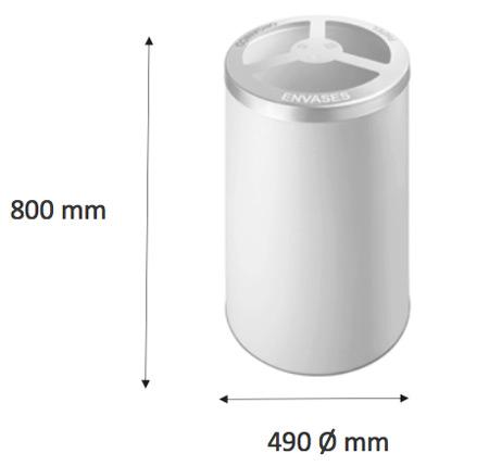Papelera reciclaje cilindro 150 litros detalle 3