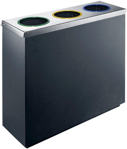 Papelera reciclaje metal recta 135 litros