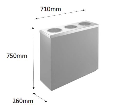 Papelera reciclaje metal recta 135 litros detalle 2