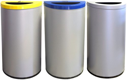 Papelera reciclaje media luna 86 litros