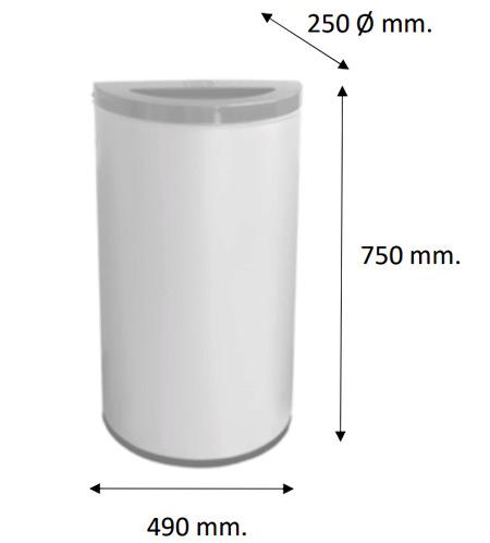 Papelera reciclaje media luna 86 litros detalle 2