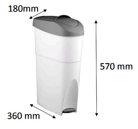 Contenedor higiene femenina 28 litros detalle 1