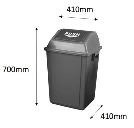 Contenedor con tapa push 60 litros detalle 1