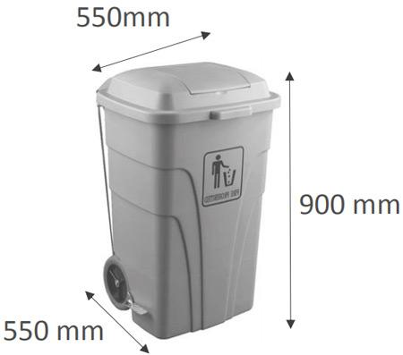Contenedor polietileno con pedal 120 litros detalle 1