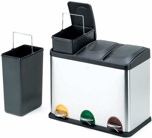 Papelera reciclaje 3 pedales 45 litros detalle 2