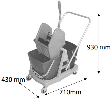 Carro de limpieza cubo tank con ruedas detalle 1