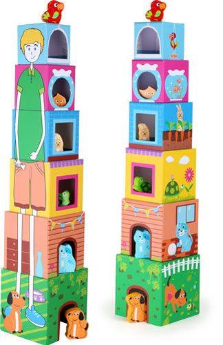 Cubos de madera para apilar con figuras