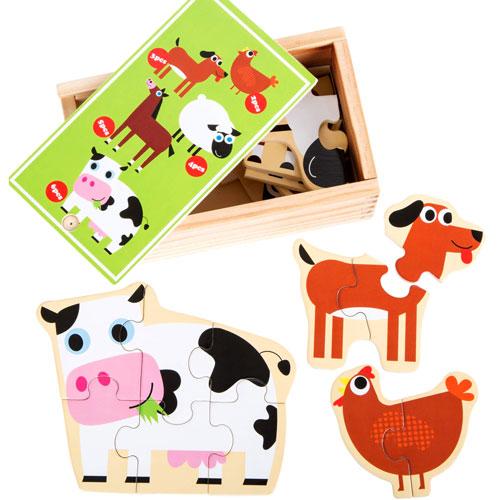 Puzzles Animales de la Granja madera