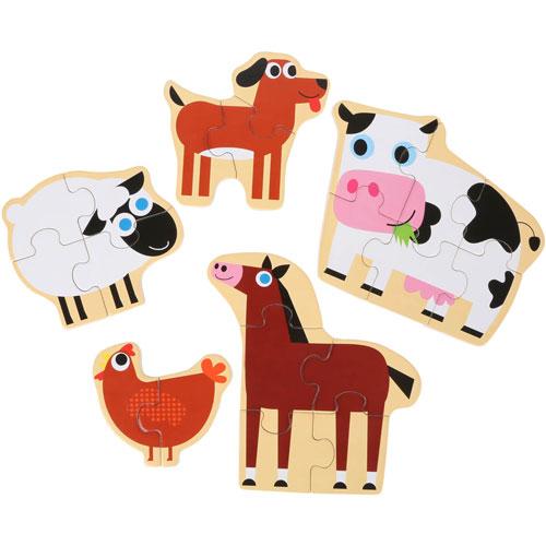 Puzzles Animales de la Granja madera   detalle 1