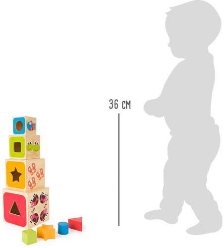 Cubos para apilar ABC detalle medidas
