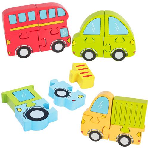 Set de 4 puzzles Vehículos 4 piezas madera