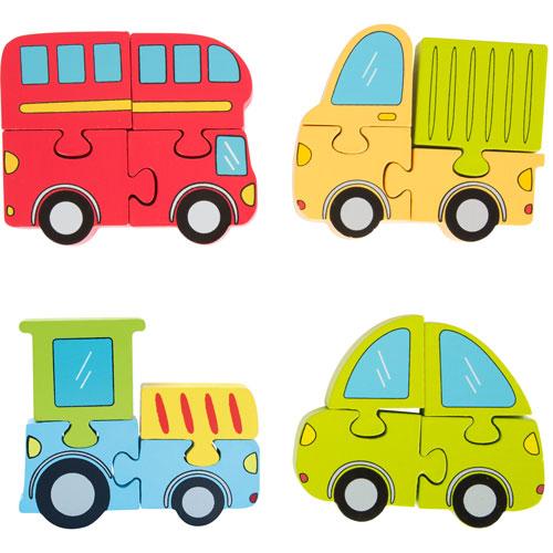 Set de 4 puzzles Vehículos 4 piezas madera detalle 5