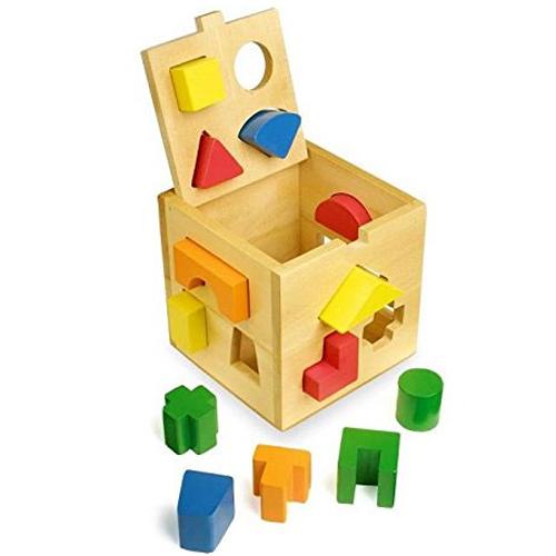 Cubo para encajar figuras madera 15 piezas