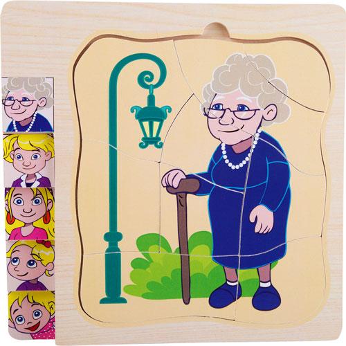 Puzzle De niña a abuela por capas 28 piezas