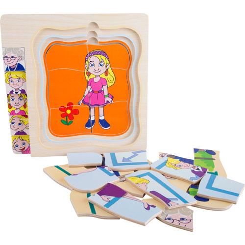 Puzzle De niña a abuela por capas 28 piezas detalle 2