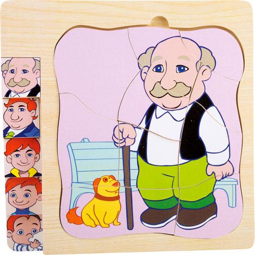 Puzzle De niño a abuelo por capas 28 piezas