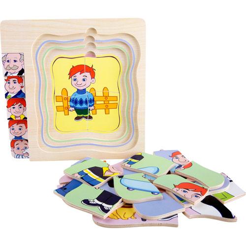 Puzzle De niño a abuelo por capas 28 piezas detalle 3