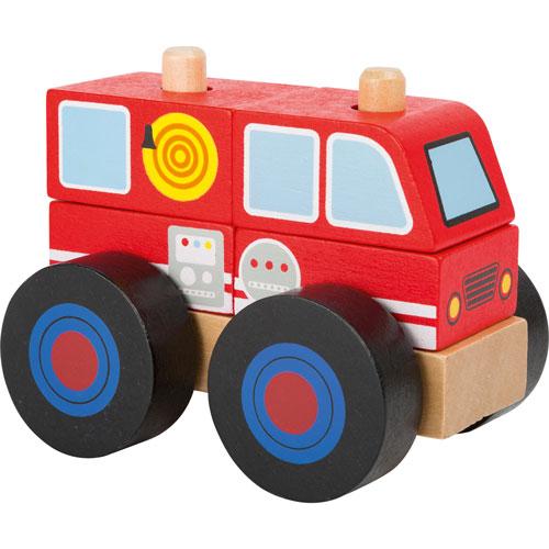 Camión apilarle de bomberos madera