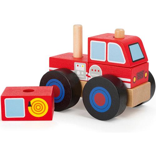 Camión apilarle de bomberos madera detalle 1