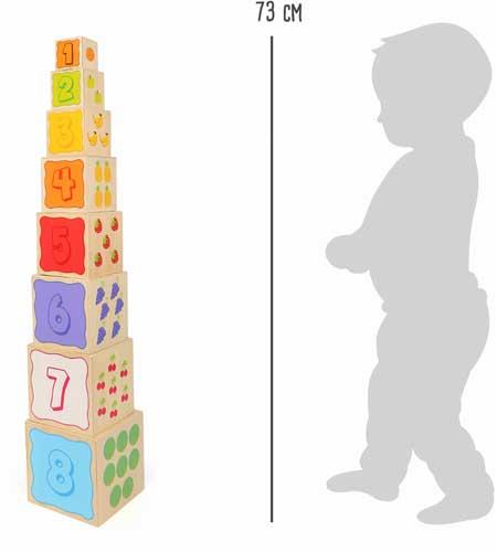 Cubos apilables  detalle de las medidas