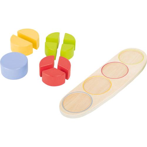 Primeras fracciones círculo madera detalle 2