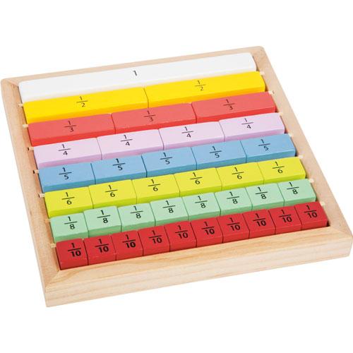 Juego cálculo de fracciones madera 39 piezas
