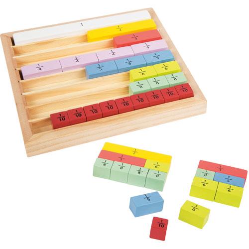 Juego cálculo de fracciones madera 39 piezas detalle 1