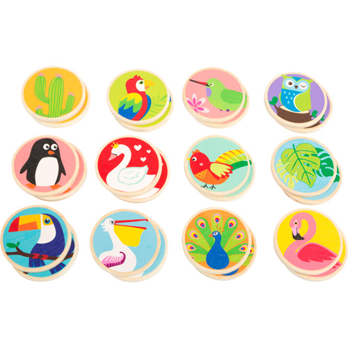 Memo Pájaros exóticos madera 24 piezas