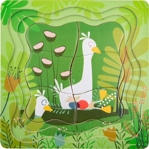 Puzzle por capas Los Patos madera detalle 3