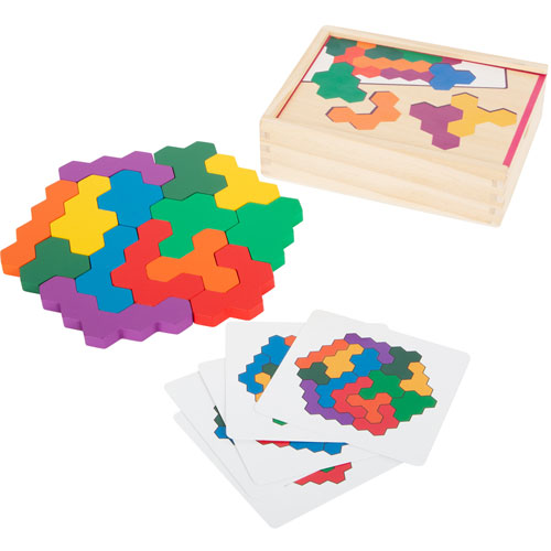 Puzzle Tetris Hexágono madera 19 piezas