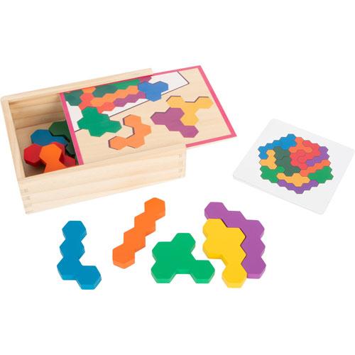 Puzzle Tetris Hexágono madera 19 piezas detalle 1