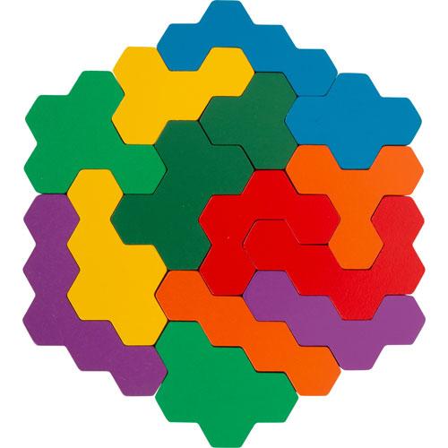 Puzzle Tetris Hexágono madera 19 piezas detalle 2
