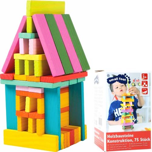 Construcción madera colorines 75 piezas