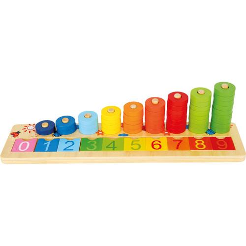 Tablero de anillas matemáticas madera 55 piezas detalle 1