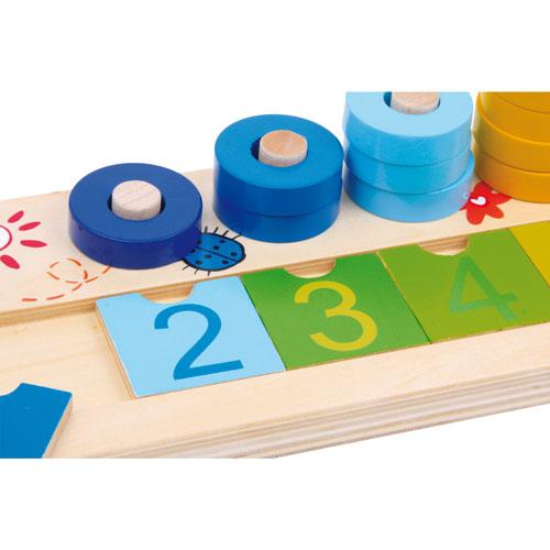 Tablero de anillas matemáticas madera 55 piezas detalle 3