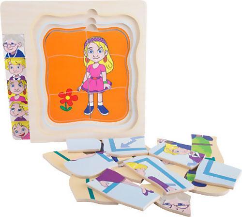 Puzzle de niña a abuela capas 28 piezas detalle 7