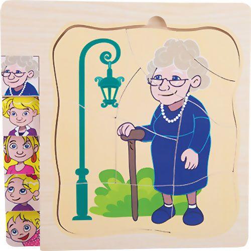 Puzzle de niña a abuela capas 28 piezas detalle 9
