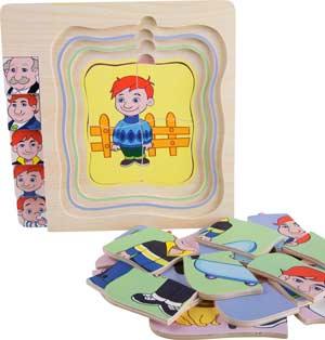 Puzzle de niño a abuelo capas 28 piezas