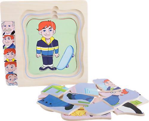 Puzzle de niño a abuelo capas 28 piezas detalle 7