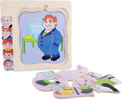Puzzle de niño a abuelo capas 28 piezas detalle 8