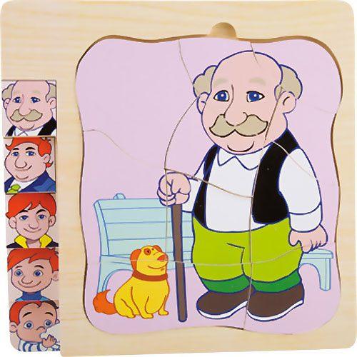 Puzzle de niño a abuelo capas 28 piezas detalle 9