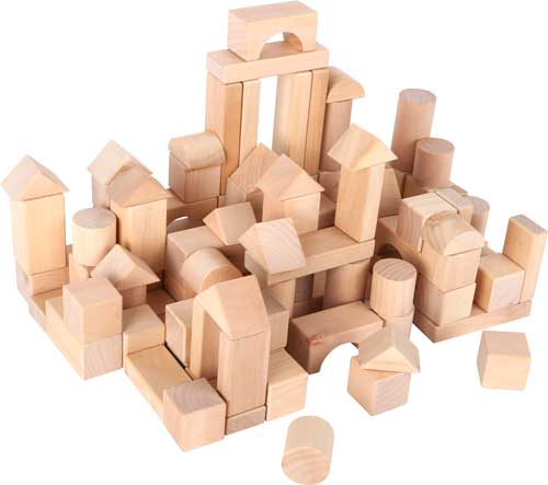 Construcción madera natural 100 piezas