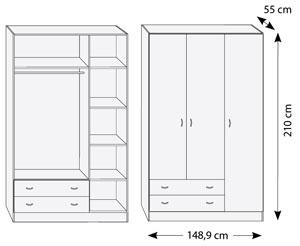 Armario 3 puertas + 2 cajones
