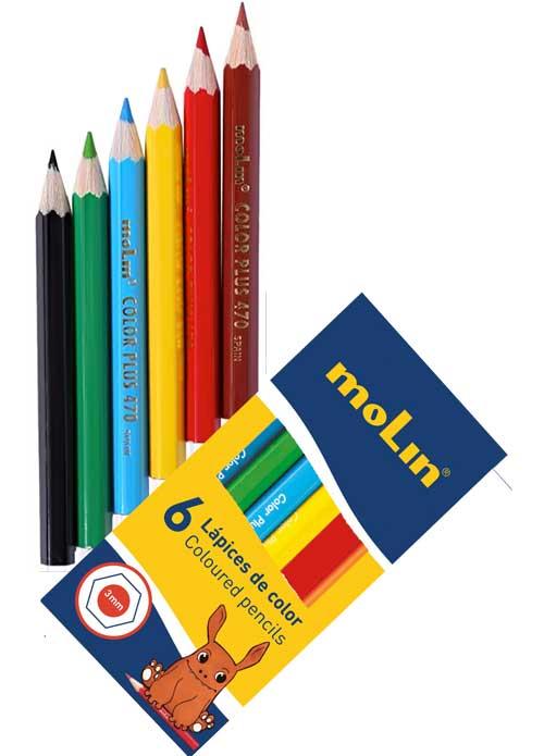 Lápices color cortos económicos 6 ud